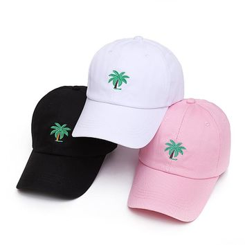 VORON 2017 new Embroidery Palm Trees Curved Dad Hats Take A Trip Baseball Cap Coconut Trees Hat Strapback Hip Hop Cap Adjustable