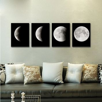 1.81*15.75 '' inch Lunar Eclipse The Moon Modern Art Print on Canvas Home Wall Decor Poster  4PCS Framed  Fancy (Size: 4PCS, Col
