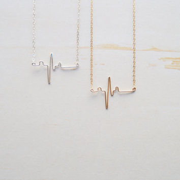 Heart Beat necklace//EKG necklace//Nurse Jewelry//Doctor thank you//Sterling Silver//Gold fill//Handmade//Gift Read//Eco Friendly packaging.