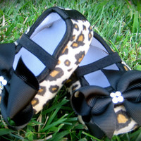 Little Diva's Cheetah Crib Shoes With SWAROVSKI Crystals