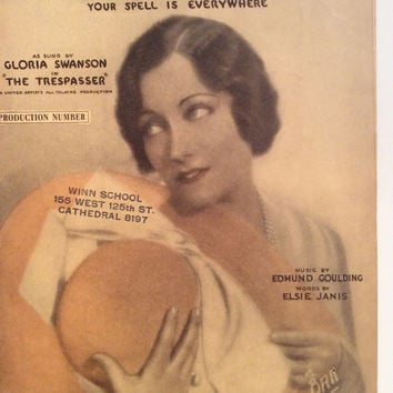 GLORIA SWANSON Sheet Music 1929 Love Your Spell is Everywhere