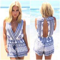 Blue Travels Paisley Romper