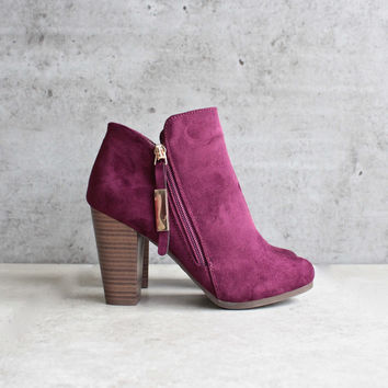 almond toe stacked heel vegan suede booties