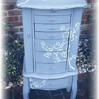 SOLD SOLD!! Shabby chic jewelry box, Distressed jewelry box, gray jewelry box, stenciled jewelry box, standing large jewelry box