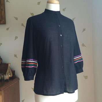 1980's Black Cotton Blouse / Rickrack Trim / Button Down Top / Jaeger / Vintage 80s