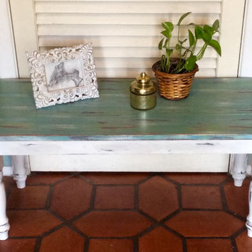 Blue/Green Wood Coffee Table