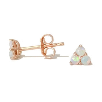 Triple Opal Cabochon Trinity Cluster 14K Solid Gold Stud Earring ~ In Stock! Ready to Ship! (Real Opals Gems, Valentine's Day Gift Ideas)