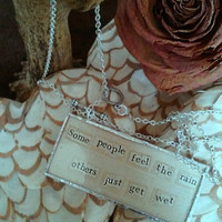 Quote paper glass necklace