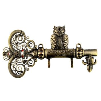 "Screw fixation,Wall Door Hook Hanger.living room & Kitchen vintage hook.""The key to happiness"" housekeeper.home decor of owl"