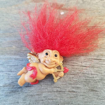 Vintage Troll brooch , Cupid Troll , Red Hair , Russ Trolls , Valentine's Day