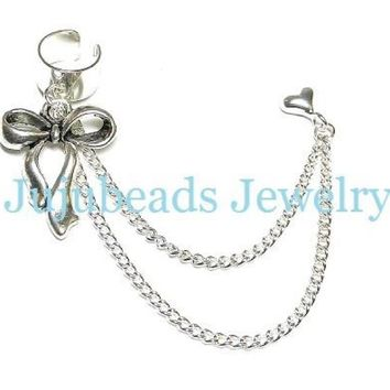 ⭐️Cute bow heart stud ear cuff earring