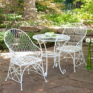 Gloss White 3-Piece Outdoor Dining Bistro Set with Round Table and 2 Arm-Chairs