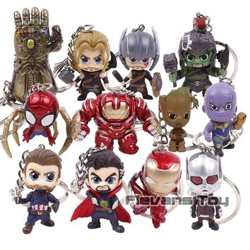 Marvel Avengers Super Heroes Mini Keychains Iron Man Iron Spider Hulkbuster Thanos Doctor Strange Captain America Figures Toys