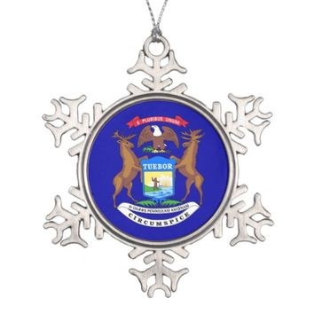 Snowflake Ornament with Michigan Flag