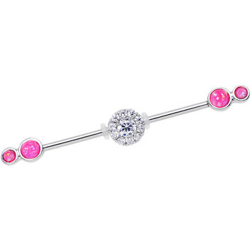 Pink Synthetic Opal Clear Gem Stainless Steel Industrial Barbell 38mm