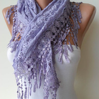 Lilac Lace Shawl / Scarf with Lace Edge by SwedishShop on Etsy
