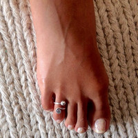 Silver Toe Ring - Adjusable Toe Ring - Gemstone Toe Ring - Foot Accessories - Foot Ring - Band Toe - Foot Jewelry - Gifts Under 20