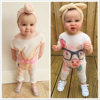Newborn Infant Baby Girls Rompers Cute Cartoon Rabbit Pig Baby Rompers Jumpsuit Outfits Sunsuit Baby Girls Clothes 0-24 Months