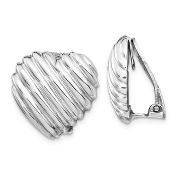 925 Sterling Silver Rhodium-plated Heart Clip Back Non-pierced Earrings