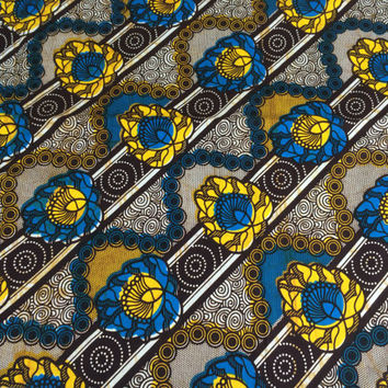 Kenyan Fabric--African Wax Print Fabric--Ankara Fabric--Brown, Yellow, and Blue Floral Stripes and Swirls--African Fabric by the HALF YARD
