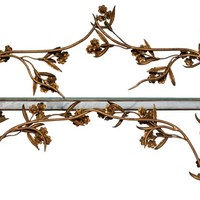 French Brass Floral Curio Shelf