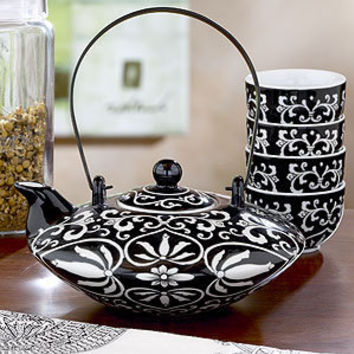 Black/White Hand Painted Tea Collection | Coffee and Tea Accessories| Kitchen & Dining | World Market