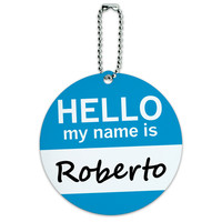 Roberto Hello My Name Is Round ID Card Luggage Tag