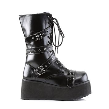 Trashville 205 Leatherette Buckle Strap Upper Lace Up Gothic Style Platform Boot Men's Sizes