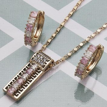 Gold Layered Women Greek Key Necklace and Earring, with Pink Cubic Zirconia, by Folks Jewelry