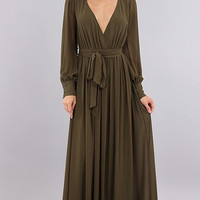 Benton Wrap Olive Maxi Dress - PREORDER