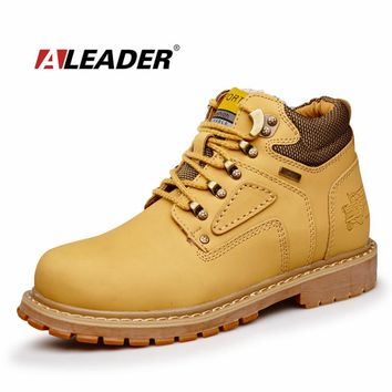 Oil-resistance Mens Work Boots Leather Safety Shoes 2017 Men Casual Winter Boots Fashion Waterproof Warm Ankle Boots With Fur