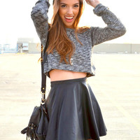 Leather Skater Skirt - Black