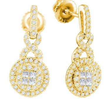 14kt Yellow Gold Women's Princess Round Diamond Soleil Cluster Dangle Earrings 1-2 Cttw - FREE Shipping (US/CAN)