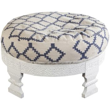 Bijou Navy Blue Round Upholstered Stool