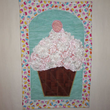Fiber Art , Wall Hanging , Wall Decor , Room Decor , Wall Art , Food , Bridal Lace , LACE  FROSTED  CUPCAKE Quilted