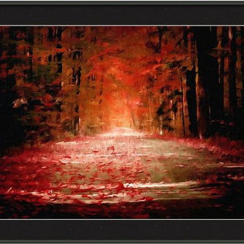 Framed ready to hang Digital art print oil painting Autumn gothic spiritual pagan nature