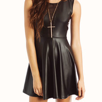 leather-skater-dress BLACK - GoJane.com