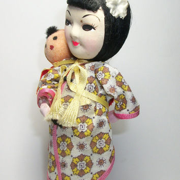 Unique Vintage Asian Doll Mother and Child Handpainted Face - Asian Mother Carrying Baby - 1950s 1960s Wire and Fabric Wrapped Doll -
