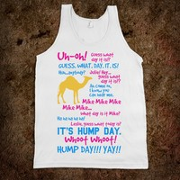 HUMP DAY FULL SCRIPT TANK TOP (PINK BLUE CAMEL ART)