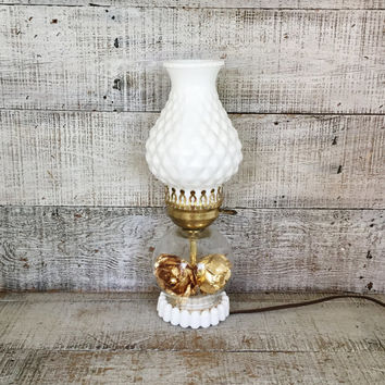 Lamp Milk Glass Lamp Mid Century Lamp Milk Glass Hurricane Shade Lamp Table Lamp Desk Lamp Antique Glass Light White Lamp