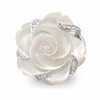 JanKuo Jewelry Silver Tone Semi-Precious Stone Carved Mother of Pearl Flower Cocktail Ring with Gift Box, Size 6