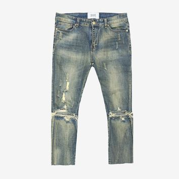Cropped-Ankle Vintage Washed Destroyed Denim Jeans
