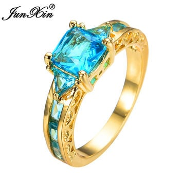 JUNXIN Gold Plated Light Blue Diamond Ring