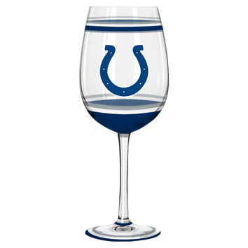 Indianapolis Colts Wine Glass - 18oz Brush Painted