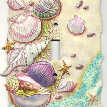 Metal light switch cover - Nautical Sea Shell Design Home Decor - Tropical Switch Plate Covers - Painted Metal Switchplate Covers - S-1028-1