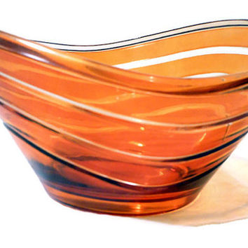 Vintage Orange Painted Murano Style Art Glass Bowl Mid-Century Modern