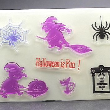 Clear Stamp bird witch halloween fun spider for DIY Scrapbook Card album paper craft  silicon rubber roller transparent stamp