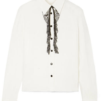 Miu Miu - Crystal-embellished lace-trimmed crepe de chine blouse