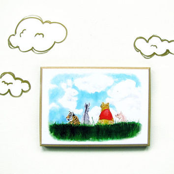 Winnie the Pooh Inspired Mounted Art Print - Tigger - Eyeore - Whimsical - Fairytale - 100 Acre Wood