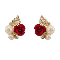 Rose Butterfly Fake Pearl Ear Studs